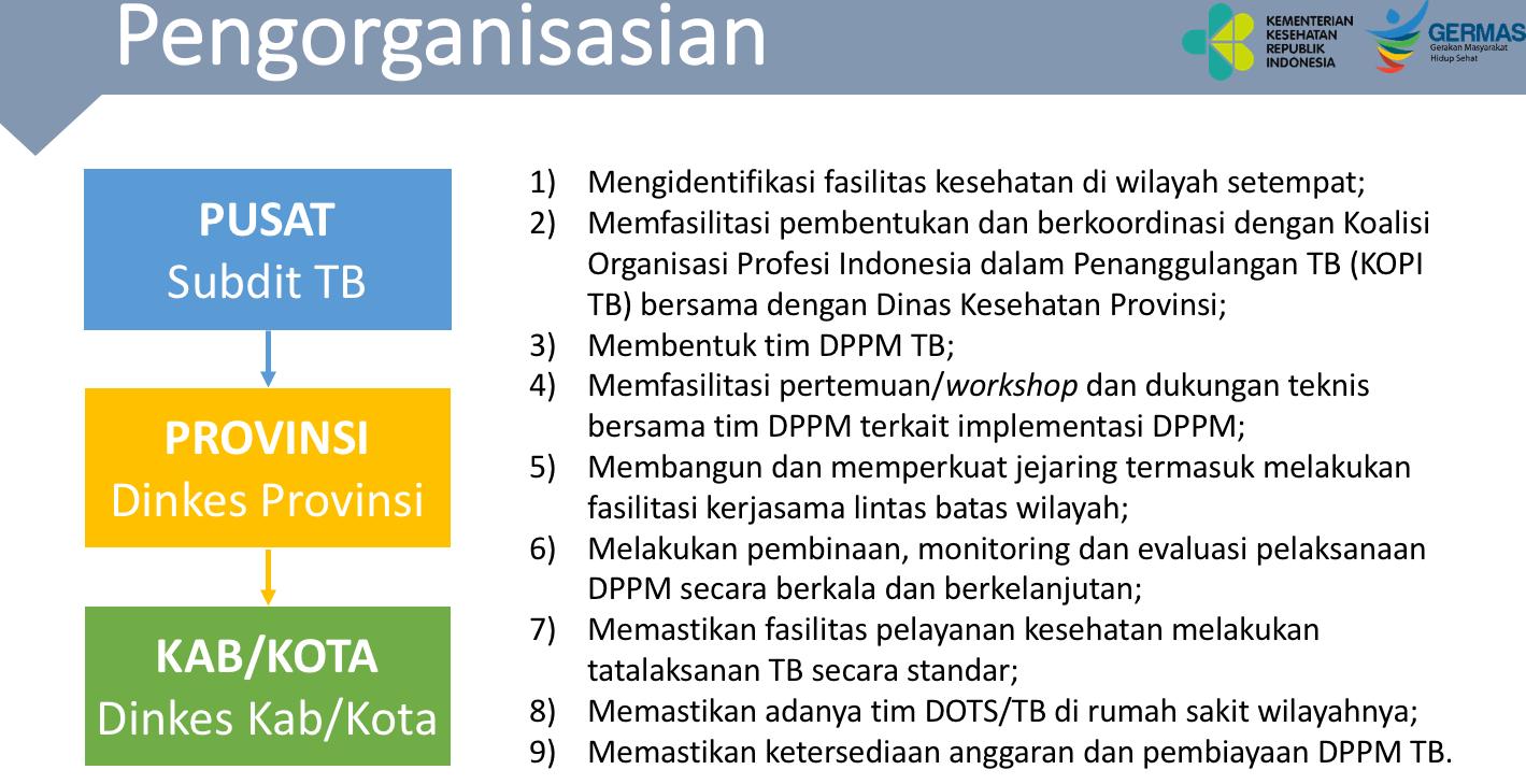 Pengorganisasian dari Pusat Kemenkes ke Dinkes Kota Kabupaten